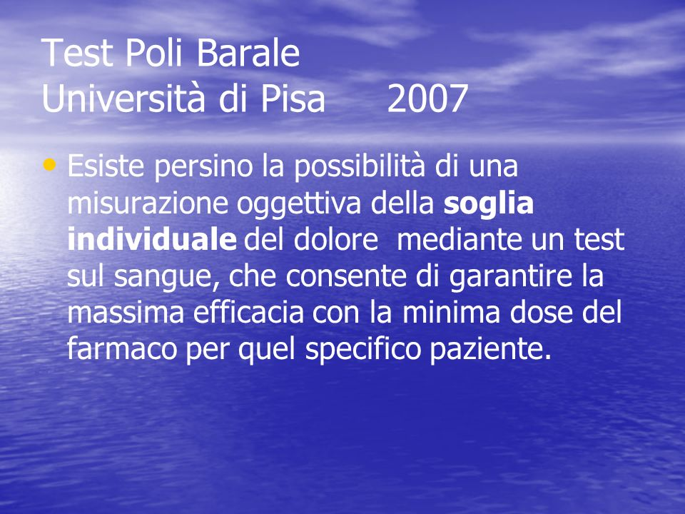 Test Poli Barale Università di Pisa 2007