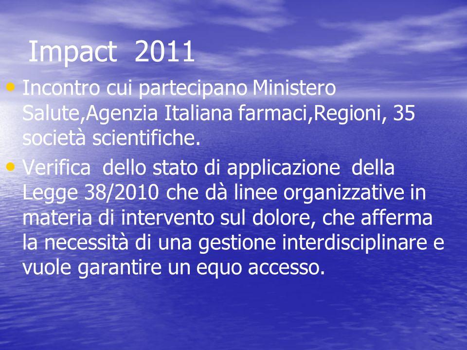 Impact 2011 Incontro cui partecipano Ministero Salute,Agenzia Italiana farmaci,Regioni, 35 società scientifiche.