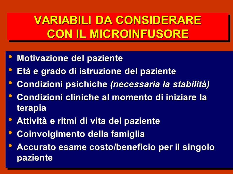 VARIABILI DA CONSIDERARE CON IL MICROINFUSORE