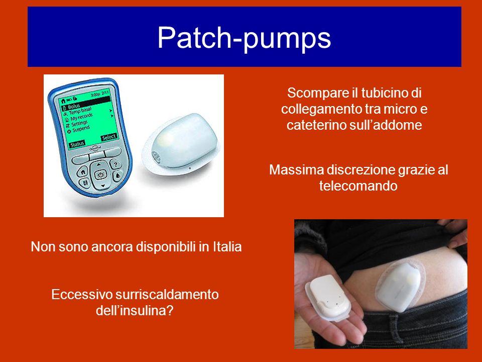 Patch-pumps Scompare il tubicino di collegamento tra micro e cateterino sull'addome. Massima discrezione grazie al telecomando.