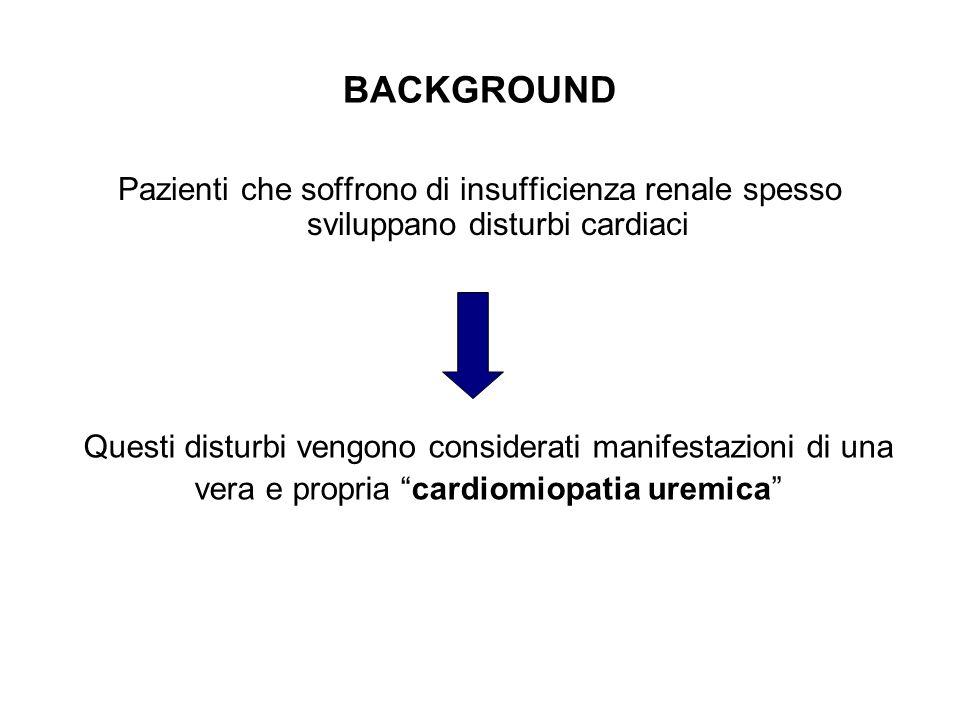 BACKGROUND Pazienti che soffrono di insufficienza renale spesso sviluppano disturbi cardiaci.