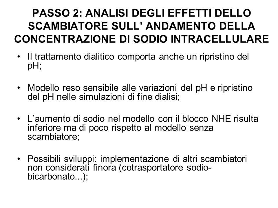 PASSO 2: ANALISI DEGLI EFFETTI DELLO SCAMBIATORE SULL' ANDAMENTO DELLA CONCENTRAZIONE DI SODIO INTRACELLULARE