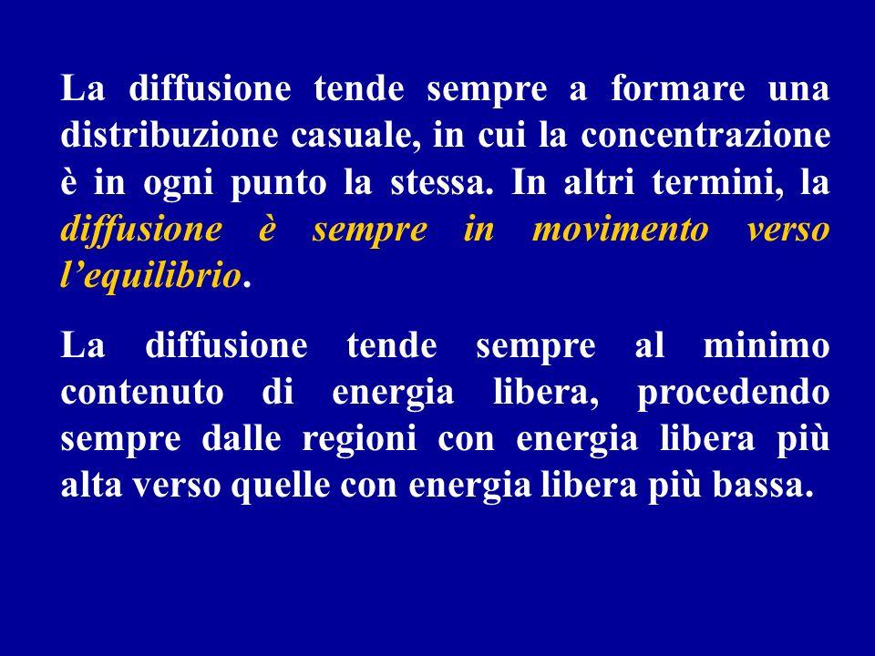 La diffusione tende sempre a formare una distribuzione casuale, in cui la concentrazione è in ogni punto la stessa. In altri termini, la diffusione è sempre in movimento verso l'equilibrio.