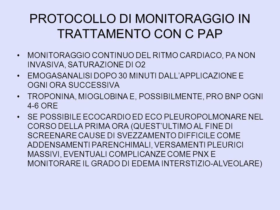 PROTOCOLLO DI MONITORAGGIO IN TRATTAMENTO CON C PAP