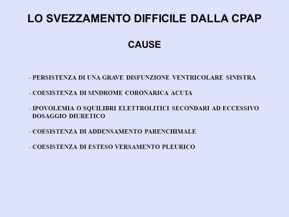 LO SVEZZAMENTO DIFFICILE DALLA CPAP CAUSE