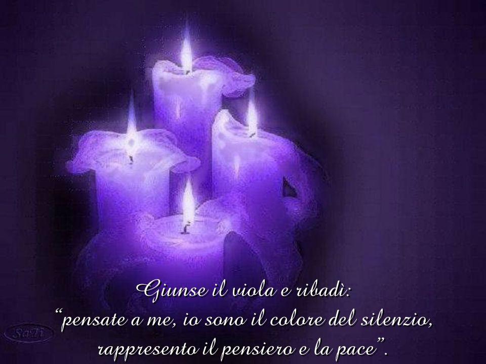 Giunse il viola e ribadì: pensate a me, io sono il colore del silenzio, rappresento il pensiero e la pace .