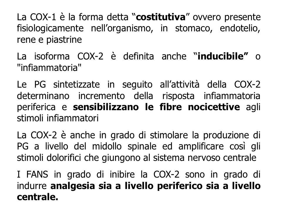 La COX-1 è la forma detta costitutiva ovvero presente fisiologicamente nell'organismo, in stomaco, endotelio, rene e piastrine