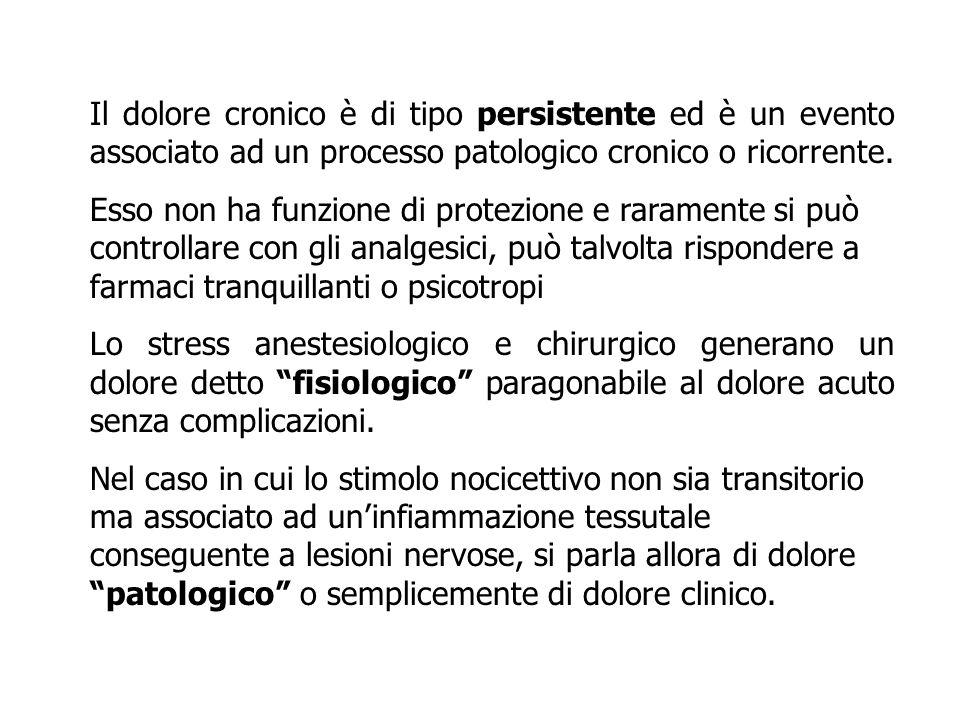 Il dolore cronico è di tipo persistente ed è un evento associato ad un processo patologico cronico o ricorrente.
