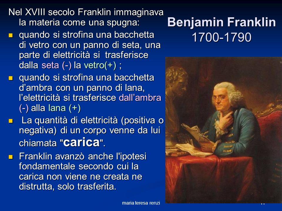 Nel XVIII secolo Franklin immaginava la materia come una spugna: