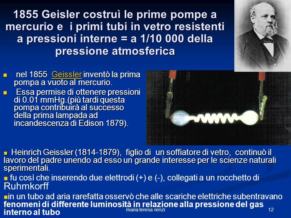 1855 Geisler costruì le prime pompe a mercurio e i primi tubi in vetro resistenti a pressioni interne = a 1/10 000 della pressione atmosferica