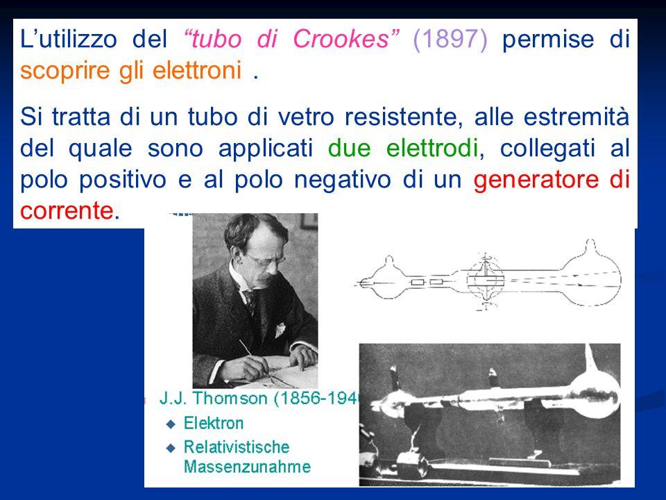 L'utilizzo del tubo di Crookes (1897) permise di scoprire gli elettroni .