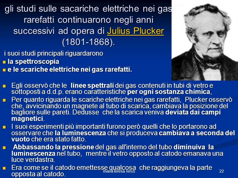 gli studi sulle sacariche elettriche nei gas rarefatti continuarono negli anni successivi ad opera di Julius Plucker (1801-1868).