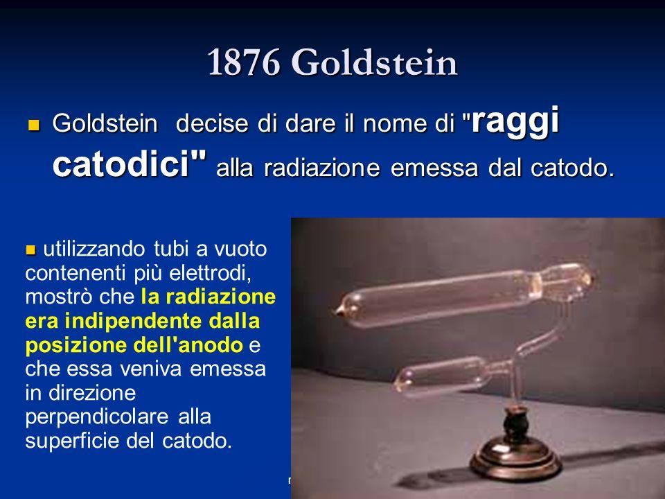1876 Goldstein Goldstein decise di dare il nome di raggi catodici alla radiazione emessa dal catodo.