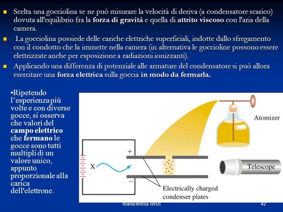 Scelta una gocciolina se ne può misurare la velocità di deriva (a condensatore scarico) dovuta all equilibrio fra la forza di gravità e quella di attrito viscoso con l aria della camera.