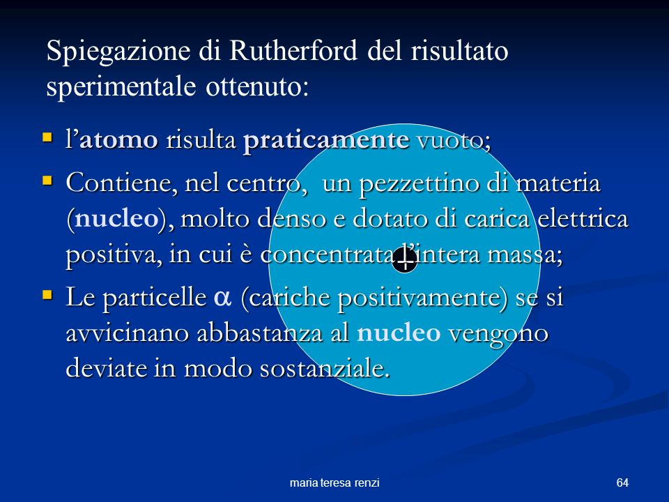 Spiegazione di Rutherford del risultato sperimentale ottenuto: