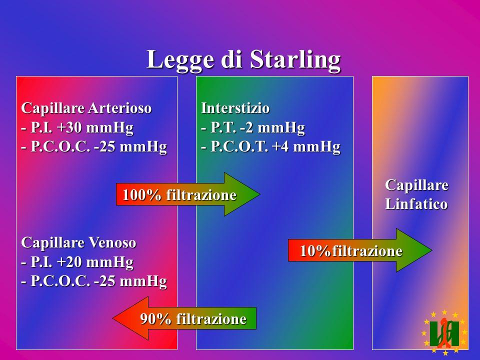Legge di Starling Capillare Arterioso - P.I. +30 mmHg