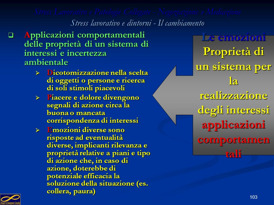 Stress Lavorativo e Patologie Collegate - Negoziazione e Mediazione Stress lavorativo e dintorni - Il cambiamento