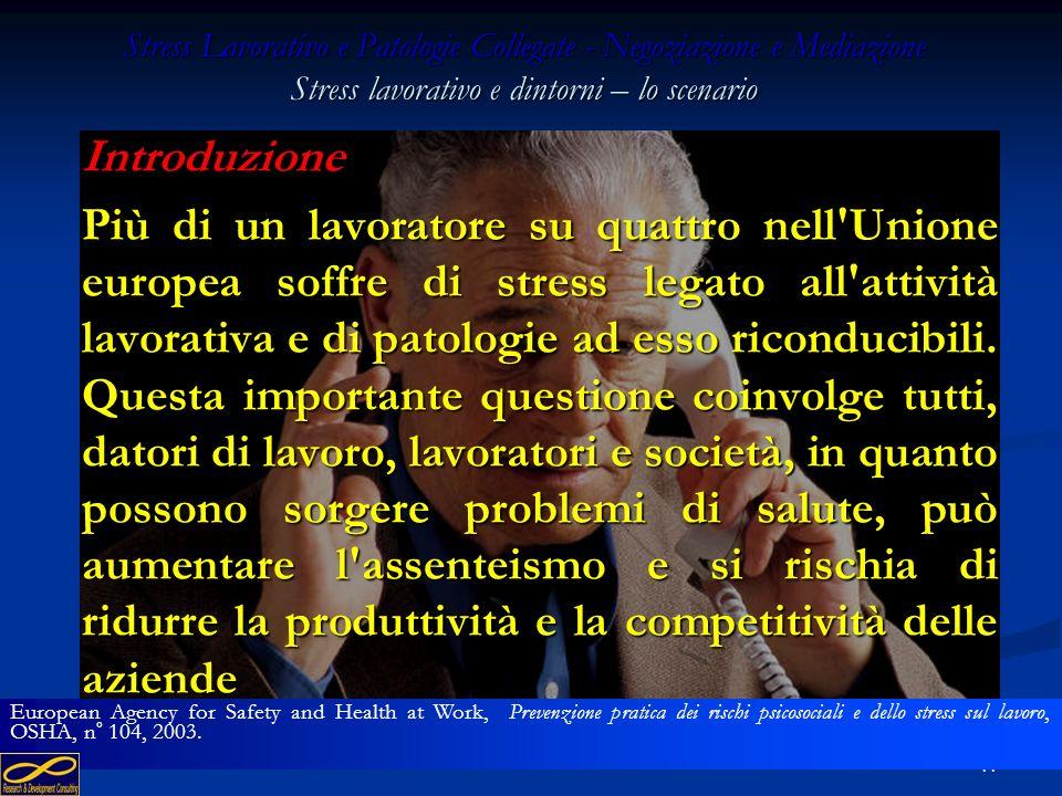 Stress Lavorativo e Patologie Collegate - Negoziazione e Mediazione Stress lavorativo e dintorni – lo scenario