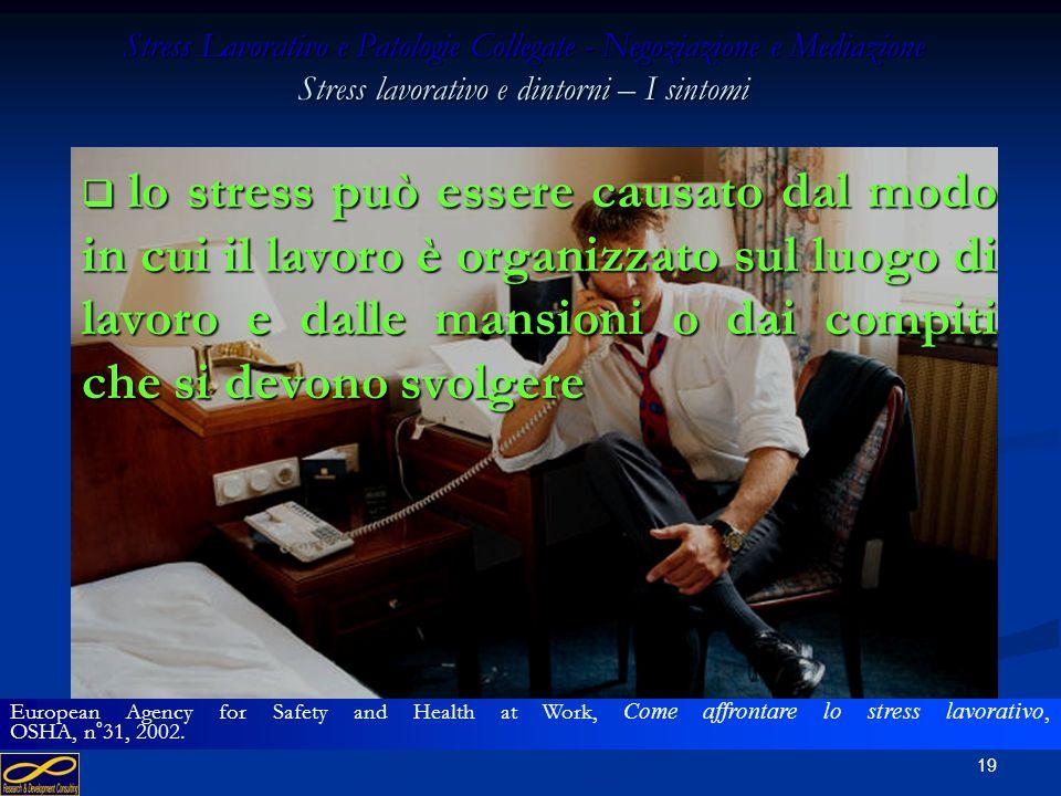Stress Lavorativo e Patologie Collegate - Negoziazione e Mediazione Stress lavorativo e dintorni – I sintomi