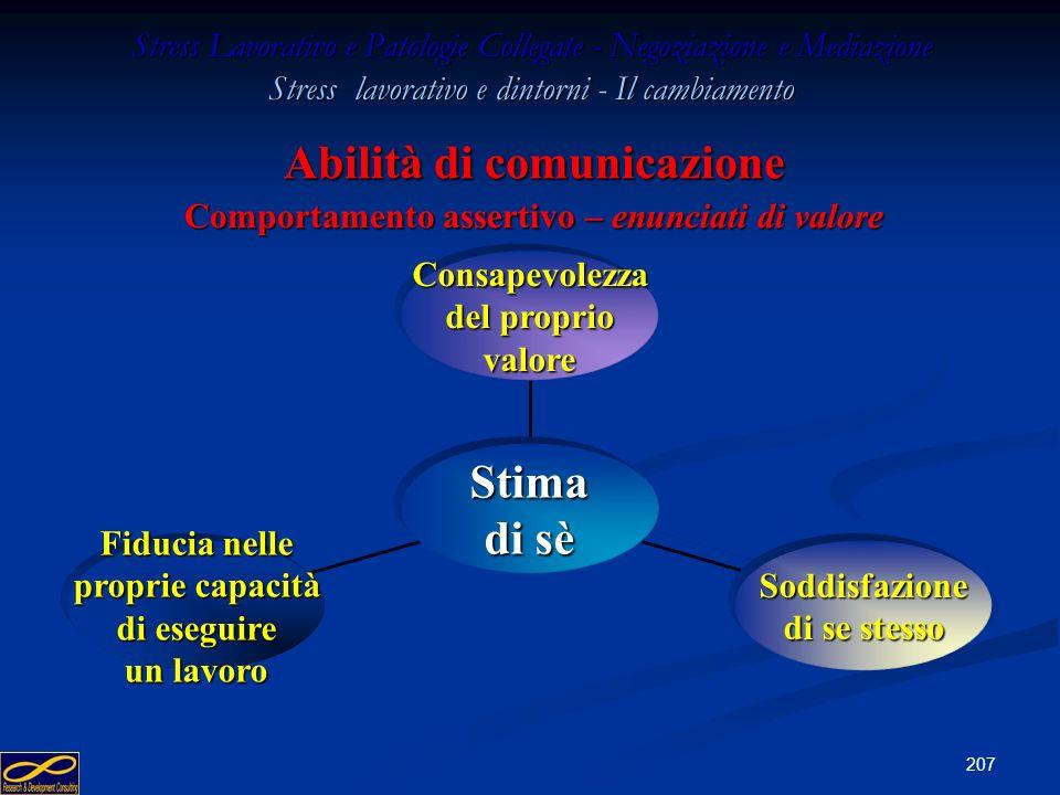 Abilità di comunicazione Comportamento assertivo – enunciati di valore