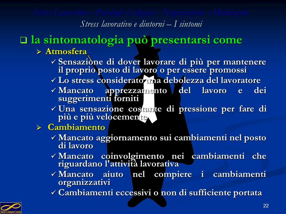 la sintomatologia può presentarsi come
