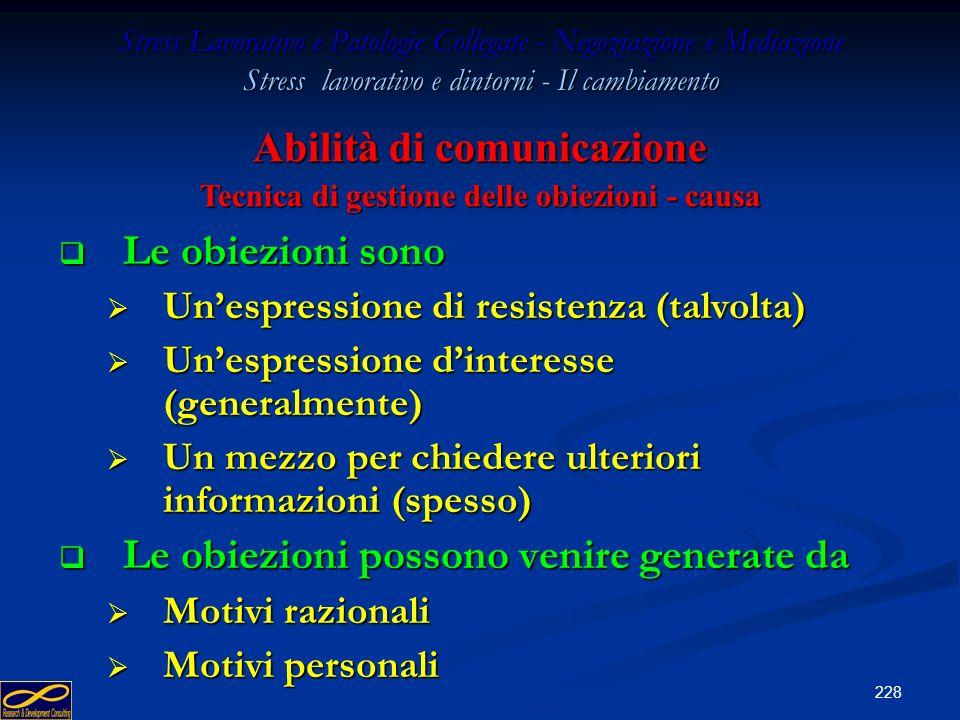 Abilità di comunicazione Tecnica di gestione delle obiezioni - causa