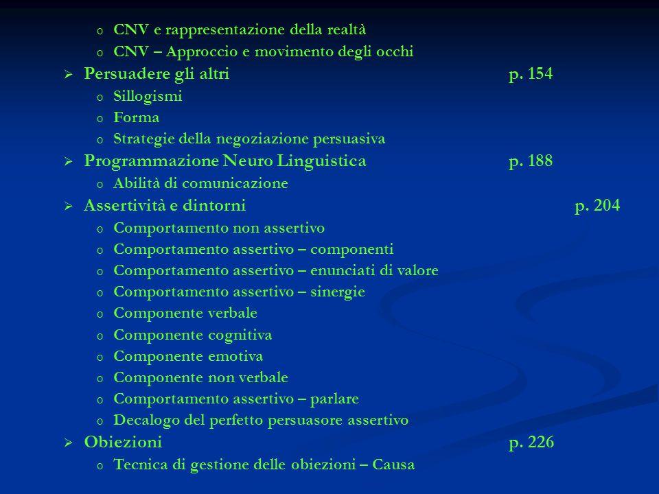 Programmazione Neuro Linguistica p. 188 Assertività e dintorni p. 204