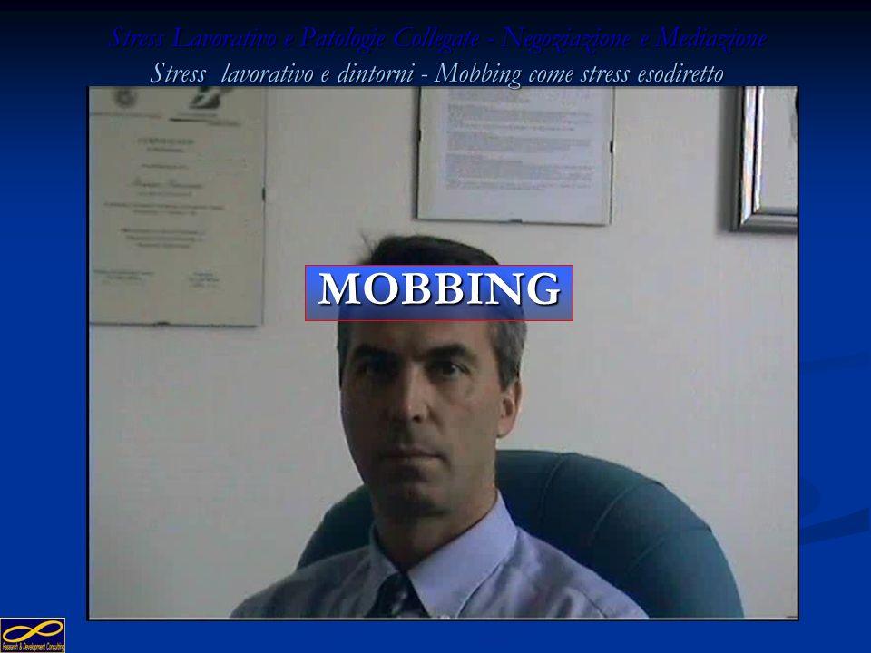 Stress Lavorativo e Patologie Collegate - Negoziazione e Mediazione Stress lavorativo e dintorni - Mobbing come stress esodiretto