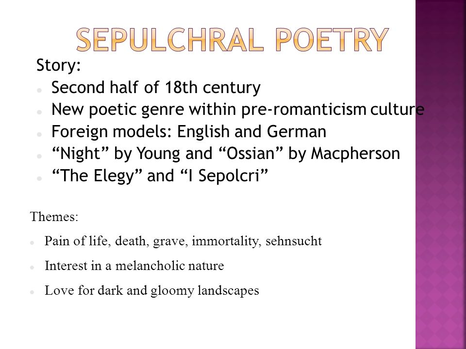 Sepulchral Poetry Story: Second half of 18th century