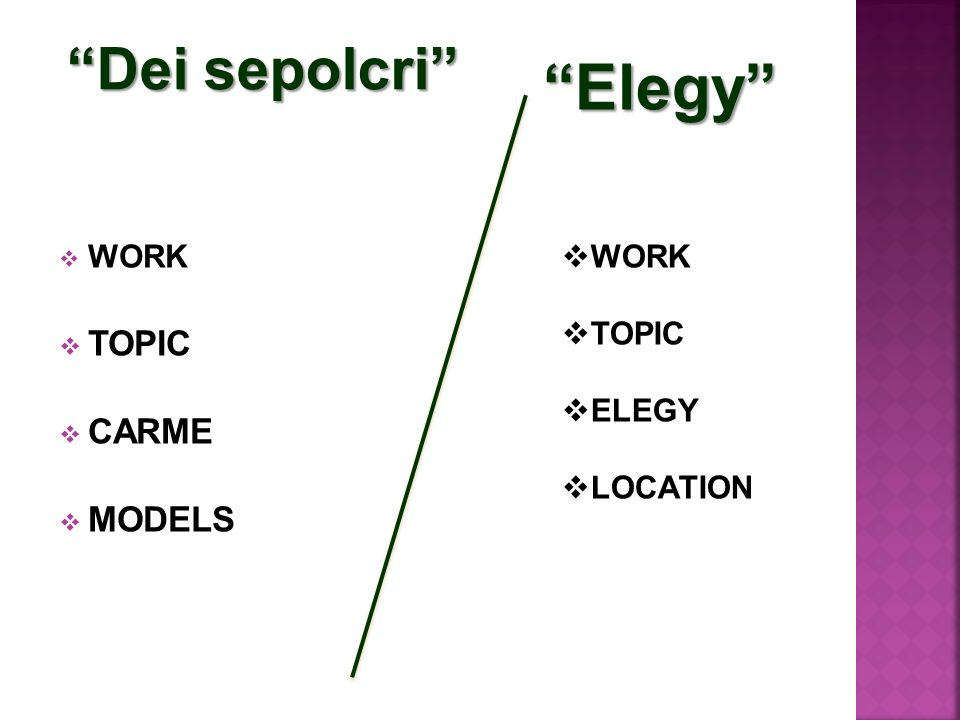 Elegy Dei sepolcri TOPIC CARME MODELS WORK WORK TOPIC ELEGY