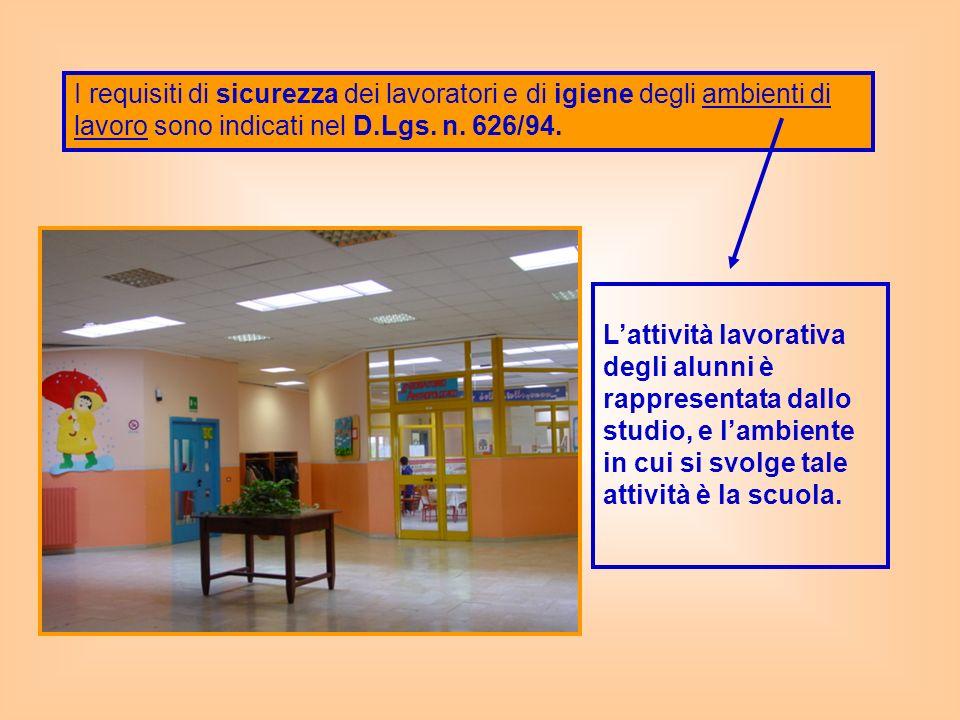 I requisiti di sicurezza dei lavoratori e di igiene degli ambienti di lavoro sono indicati nel D.Lgs. n. 626/94.