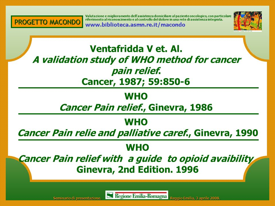 A validation study of WHO method for cancer pain relief.