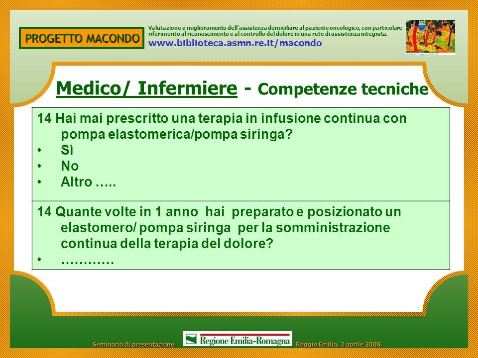 Medico/ Infermiere - Competenze tecniche