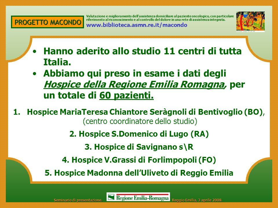 Hanno aderito allo studio 11 centri di tutta Italia.