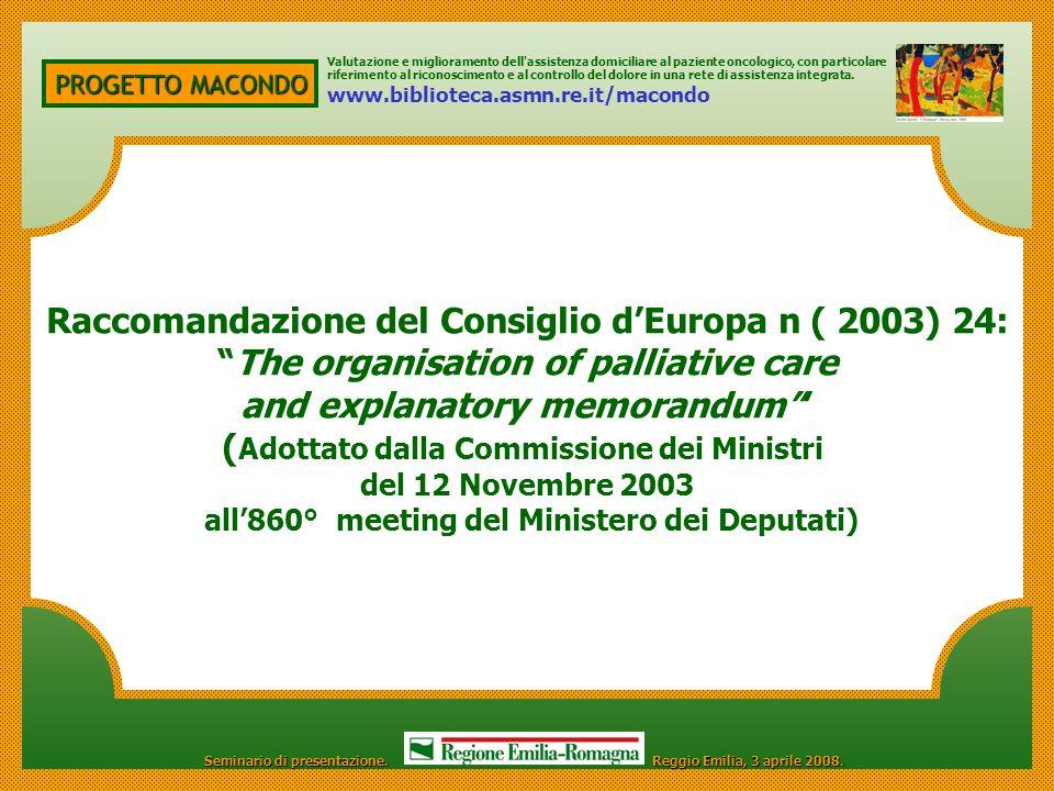 Raccomandazione del Consiglio d'Europa n ( 2003) 24: