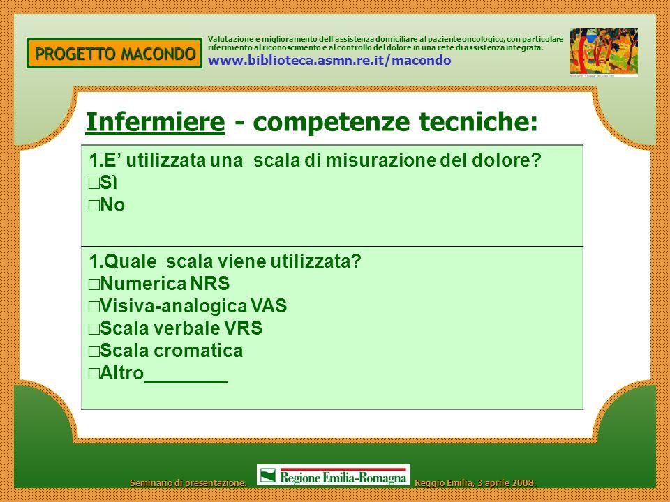 Infermiere - competenze tecniche: