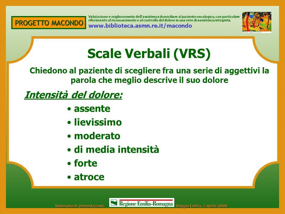 Scale Verbali (VRS) Intensità del dolore: assente lievissimo moderato