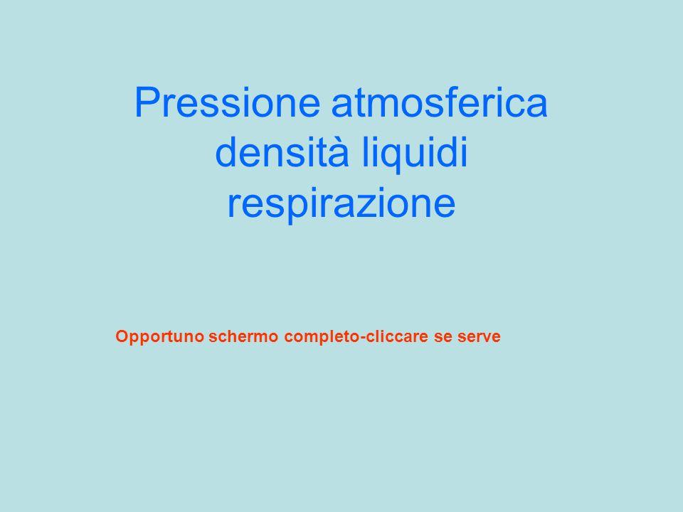 Pressione atmosferica densità liquidi respirazione