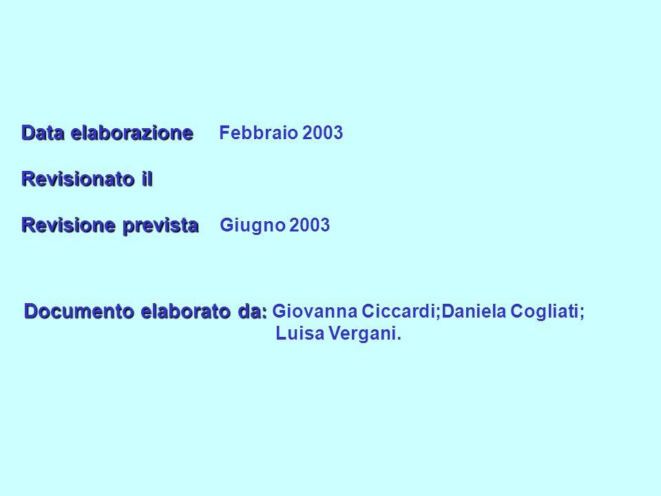 Data elaborazione Febbraio 2003 Revisionato il