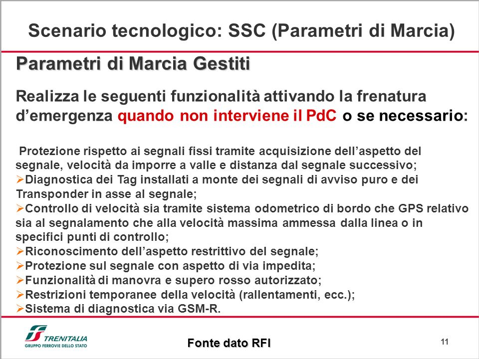 Scenario tecnologico: SSC (Parametri di Marcia)