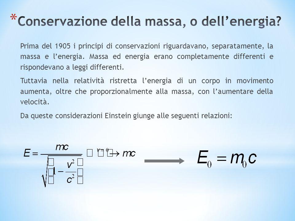 Conservazione della massa, o dell'energia