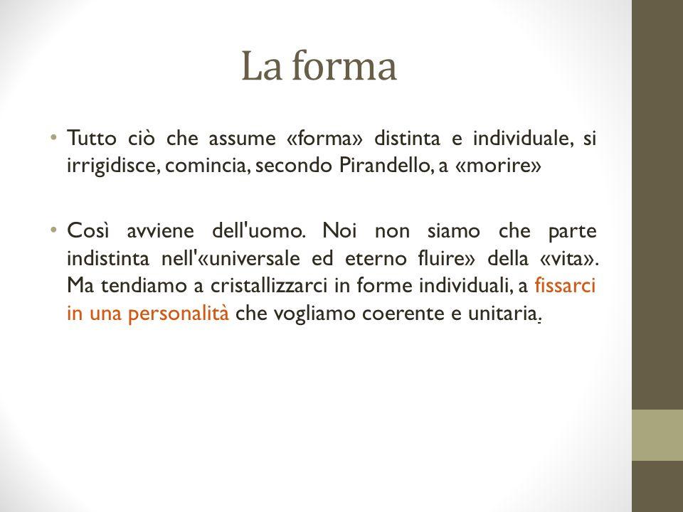 La forma Tutto ciò che assume «forma» distinta e individuale, si irrigidisce, comincia, secondo Pirandello, a «morire»