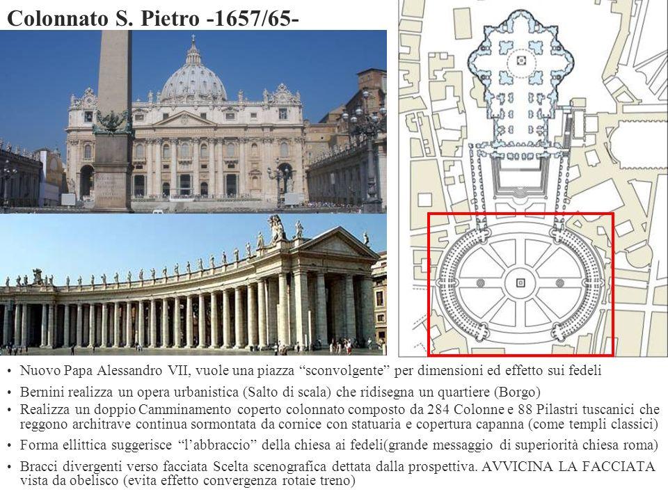 Colonnato S. Pietro -1657/65- Nuovo Papa Alessandro VII, vuole una piazza sconvolgente per dimensioni ed effetto sui fedeli.