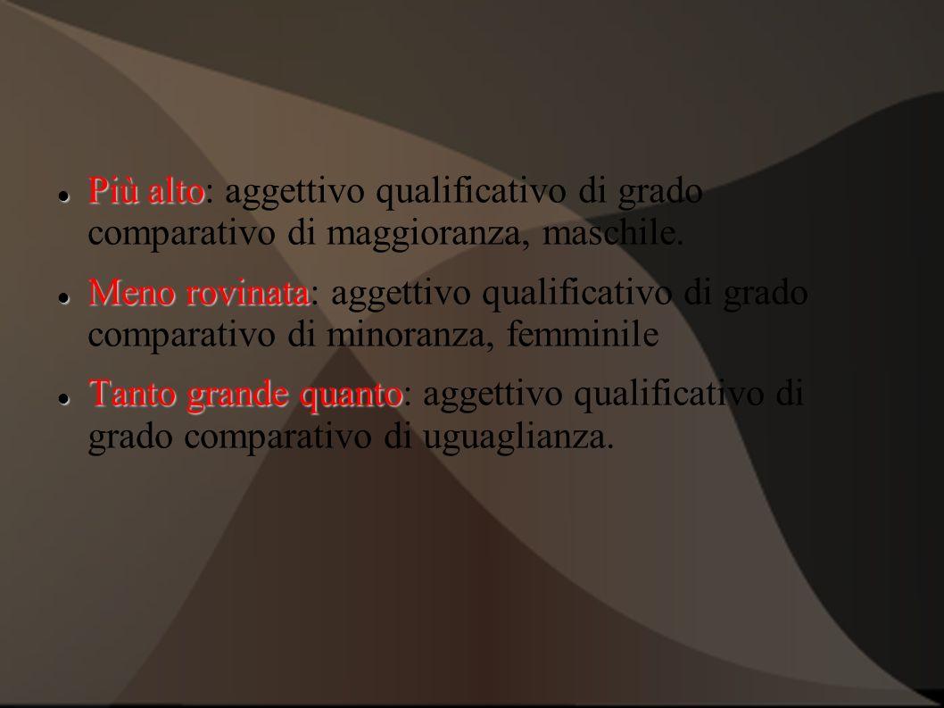 Più alto: aggettivo qualificativo di grado comparativo di maggioranza, maschile.