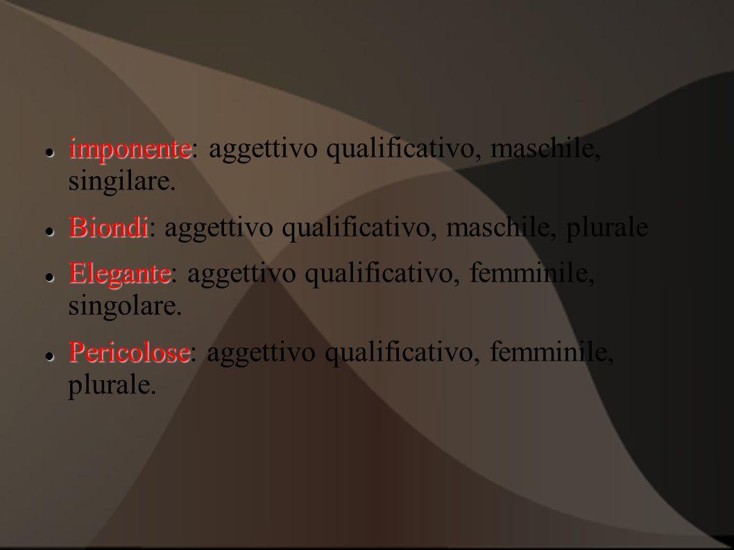imponente: aggettivo qualificativo, maschile, singilare.
