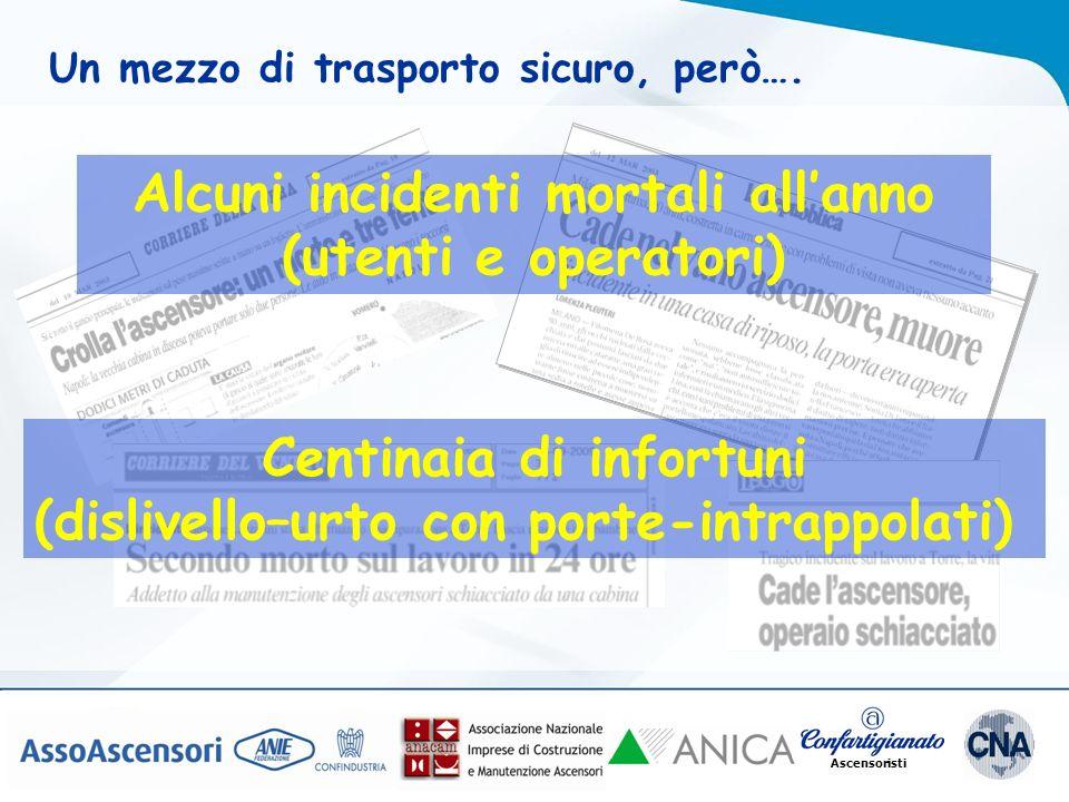 Alcuni incidenti mortali all'anno (utenti e operatori)