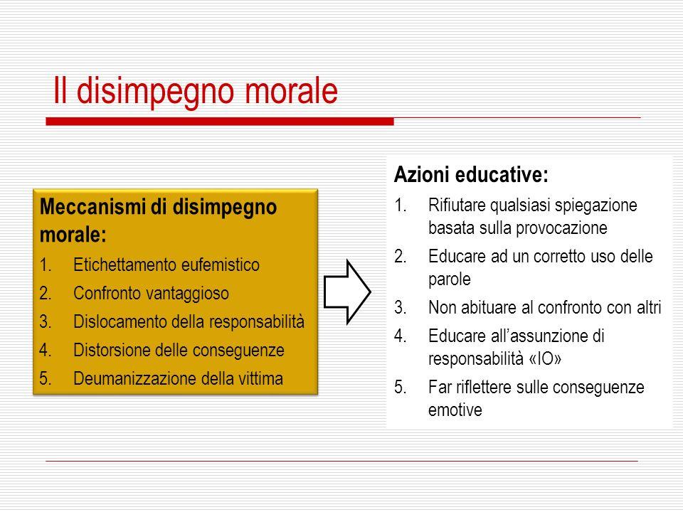 Il disimpegno morale Azioni educative: