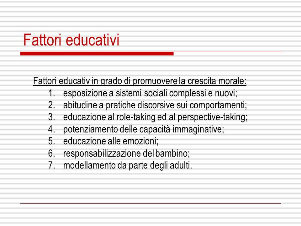 Fattori educativiFattori educativ in grado di promuovere la crescita morale: esposizione a sistemi sociali complessi e nuovi;
