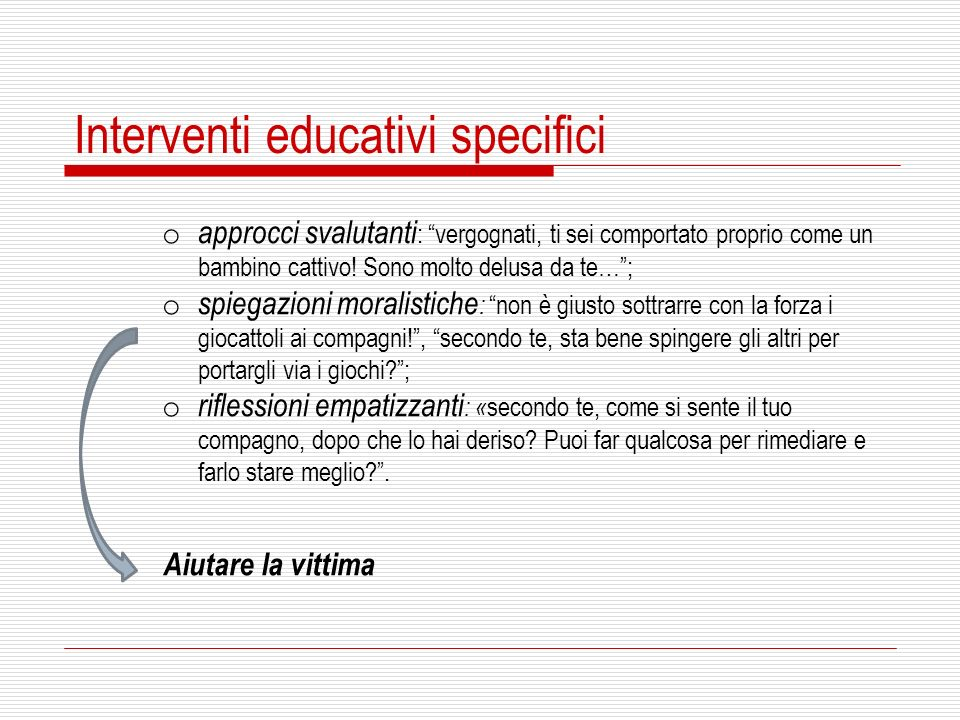 Interventi educativi specifici