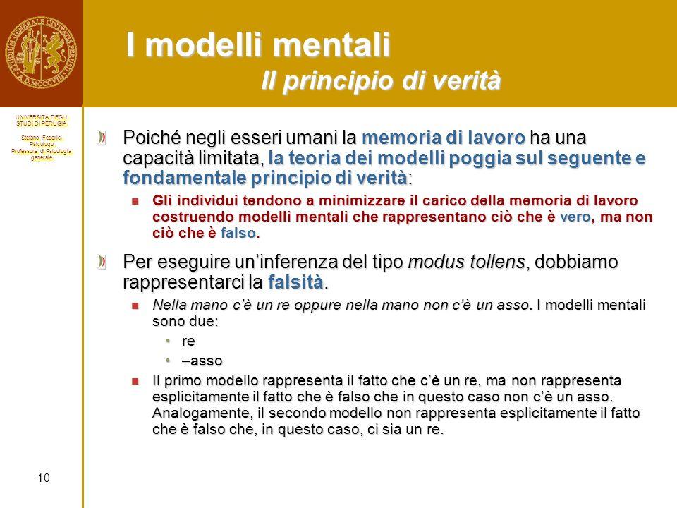 I modelli mentali Il principio di verità